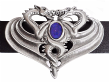 Opposing Dragons Pewter Belt Buckle with a Sapphire-coloured Stone BB504